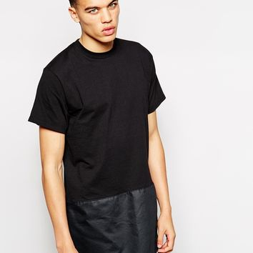 The Ragged Priest Longline T-Shirt with Leather Look Hem