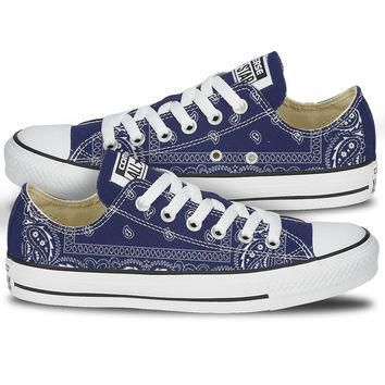 Blue Bandana Converse Shoes