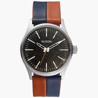 Nixon The Sentry 38 Leather Watch Dark Copper/Navy/Saddle One Size For Men 25973395701