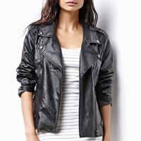 MinkPink Reckless Faux Leather Biker Jacket - Womens Jacket - Black - Small