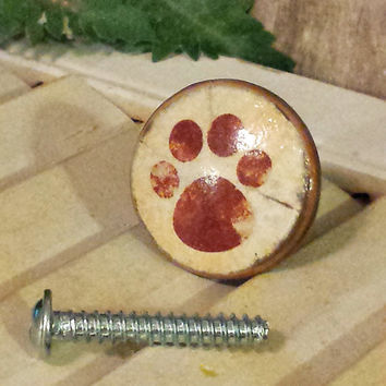 Handmade Knobs Drawer Pulls, Dog Paw, Puppy Paw Print, Cabinet Pull Handles, Dresser Knob Pulls, Animal Decor, We Make Customized Orders