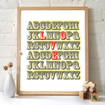 11x14 ABC Circus Print A Love Letter in Red Alphabet by 2142stuart