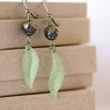Chocolate Brown and Green Brass Accented Dangling Leaf Earrings