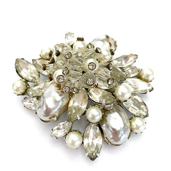 Vendome Rhinestone Floral Brooch, Clear Rhinestones, Faux Pearls, Clear Crystal Dangles, Silver Tone, Signed, Wedding, Vintage Gift for Her