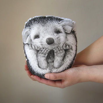 throw pillow hedgehog decorative pillow handpainted cushion home decor plush black and white soft toy