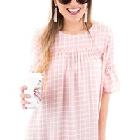 On the Grid Blouse, Pink