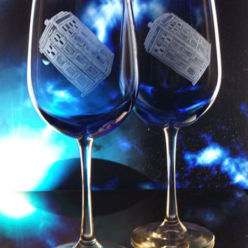 Dr. who glass Tardis glass Police box , tardis wedding glasses, blue glass goblets featuring doctor who , whovian , gift ideas, the doctor