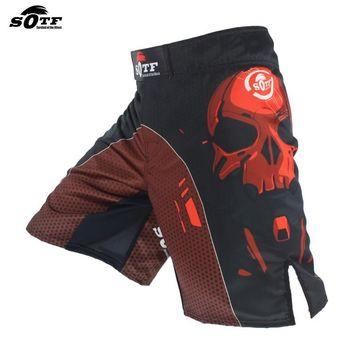 Black Skull Mechanical MMA Fighting Breathable Sports Fitness Shorts