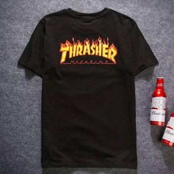 DCCKR2 Thrasher X Dickies Stylish Print Short Sleeve Pullover Top T-Shirt Black I-YQ-ZLHJ