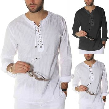 INCERUN Vintage S-3XL White Shirts Men Long Sleeve Lace Up Tunic Loose Fit Beach Tops Men Tshirts Plus Size Casual Tee Shirts