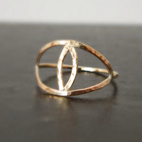 Evil Eye Gold Ring, Midi Ring, Available Sterling Silver
