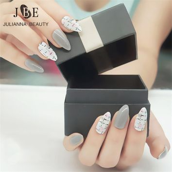 24Pcs Stiletto False Nail Art Tips Faux Ongles Long Acrylic Plastic UV Gel Grey Full Fake Oval Nail Tips Nagel Make Up Tool