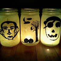 Halloween Luminaries Tea Lights Halloween Mason Jar Decor Handpainted Dracula Pirate Jack O Lanterns Monster Jars Candy Jars Vases