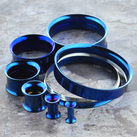 Blue Screw Back Stainless Steel Tunnels