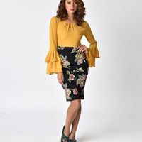 Vintage Style Black & Multicolor Floral Print Stretch Pencil Skirt