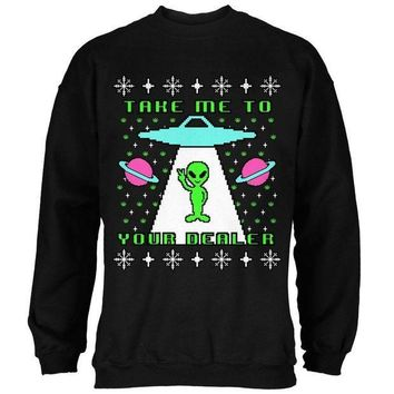 PEAPGQ9 Alien Take Me to Your Dealer Ugly Christmas Sweater Mens Sweatshirt