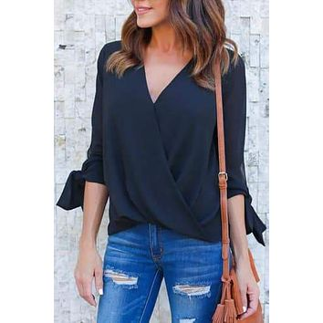 Meghan Tie-Sleeve Faux-Wrap Top