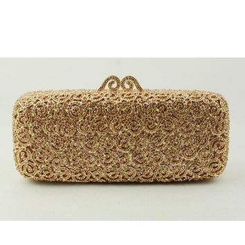Fashion Lady Handbag on Sale Long Square Gold Crystal Clutch Evening Bag for Women Metal Shoulder Chain Cluch Purses for Wedding
