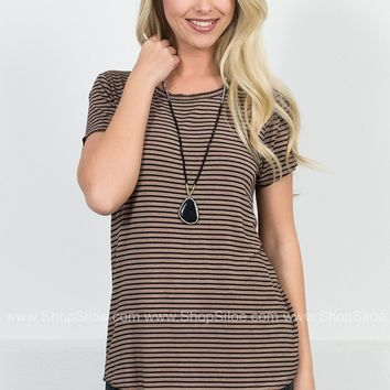 Dear John Striped Brown Top