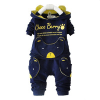 Unisex Baby cartoon clothing sets hooded jacket + trousers suit