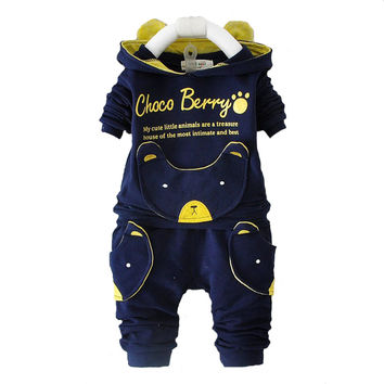 2016 new autumn fashion baby cartoon clothing sets hooded jacket + trousers suit for infant chilren boys girls pullover clothes
