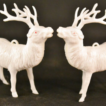 Vintage White Plastic Reindeer, Christmas figurines, Old Christmas Decor, 1950s Decorations, Reindeer Ornaments