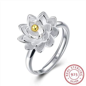 925 Sterling Silver Ring Lotus Flower Adjustable Ring Jewelry