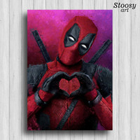 Deadpool love poster superhero print marvel art