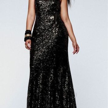 New Black Patchwork Sequin Mermaid Bodycon Sparkly Glitter Birthday Prom Evening Party Maxi Dress