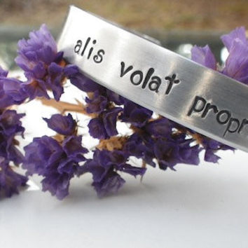 "Alis Volat Propriis ""She flies with her own wings"" Handstamped Bracelet."