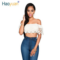 Summer Sexy Lace Tops 2016 Bohemian White Backless Crop Top Women Off Shoulder T Shirt Camisetas Cuello Slash Woman Clothing