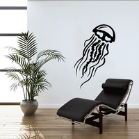 Jellyfish Wall Decal Scuba Tentacles Deep Sea Ocean Fish Wall Decals Vinyl Sticker Interior Home Decor Vinyl Art Wall Decor Bedroom SV5828