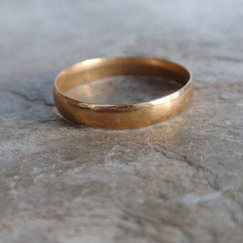 Vintage Wedding Band 10k Ring rosey yellow gold simple ladies mans traditional classic