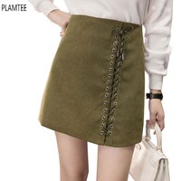 Vintage Suede Mini Skirts Autumn Winter Bandage Skirts Women High Waist A-line Skirt Plus Size Faldas Solid Colors Skinny Saias
