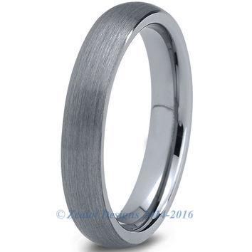 4mm Brushed Silver Dome Cut Tungsten