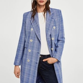 Checked structured coat - Woman | MANGO United Kingdom