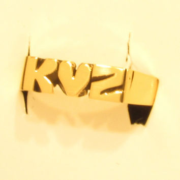 Solid Brass Initial Heart Initial Ring ( Hand Carved Ring )