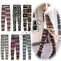 Women New Fashion Snowflake Reindeer Knitted Warm Leggings Tights Pants 17Types  10265