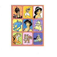 Vintage Disney Aladdin Stickers, 1990's Sticker Sheet, Walt Disney, Animated Cartoon Movie, Scarpbook, Journal, Genie,Jafar,Princess Jasmine