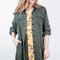 Olive Button Down Shirt Dress