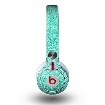 The Teal Leaf Laced Pattern Skin for the Beats by Dre Mixr Headphones