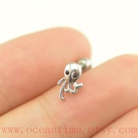 octopus Tragus Earring Jewelry,little octopus piercing jewelry ear Helix Cartilage jewelry,earring,oceantime
