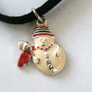 Small Snowman Choker, Vintage Repossessed Jewelry, Snowman Boho pendant Choker, Christmas Jewelry, Gift for her, Gift for girls