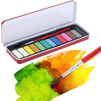 13 Colors Solid Watercolor Paint Pigments Tablet Set Gouache with 1pc Paintbrush and Box for Beginner Water Color Art Supplies