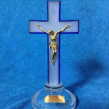 "Czech bohemia crystal glass - Blue glass cross with "" Jesus Christ "" 14cm decorated gold color"