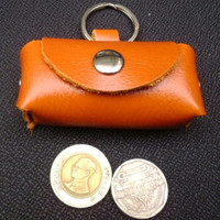 orange tan leather key ring  coin purse
