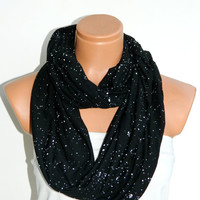 Women trends scarf,Infinity Scarf ,Black and White,Star lycra cotton fabric Scarf,galaxy scarf, Loop Infinity Scarves. Circle Scarf ,