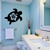 Ocean Sea Turtle Silhouette with Hibiscus Flower Vinyl Wall Decal Sticker Graphic