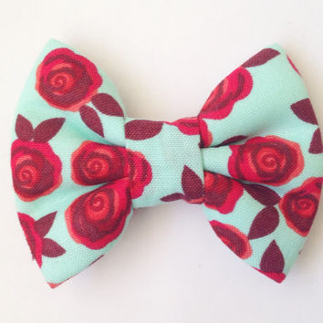The Rose Bow (Handmade Bow / Bow Tie / or Headband)