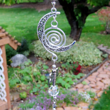 Crystal Prism Dragonfly Moon Car Charm Rearview Mirror Ornament Suncatcher Car Accessories